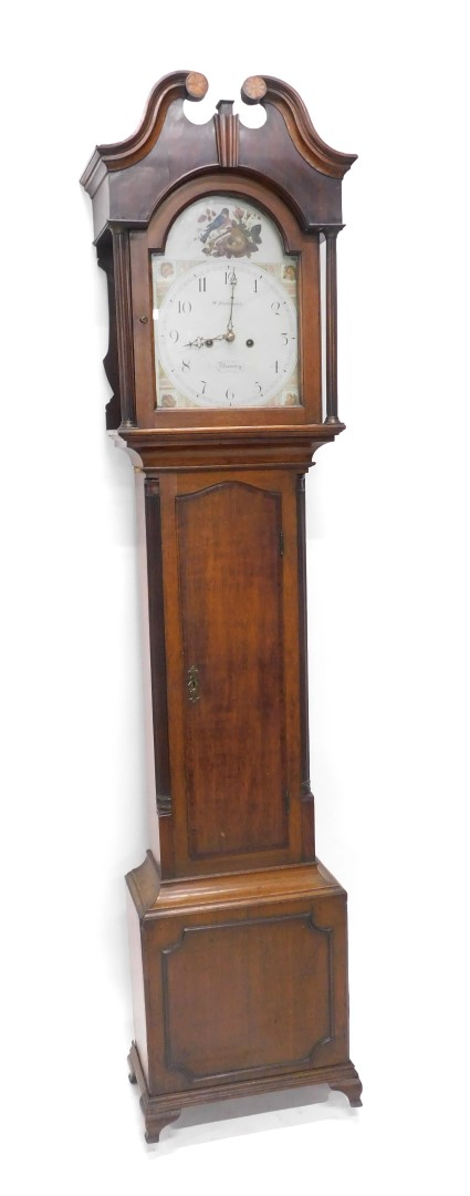 W Robinson, Bawtry. A 19thC longcase clock, the arched dial painted with a bird in a bird's nest, et