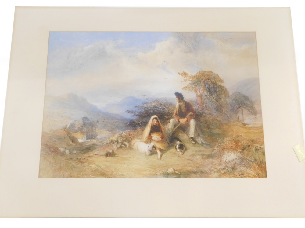 W. Evans (19thC). Figures seated in the hills with clouds gathering, watercolour, 53cm x 76cm.