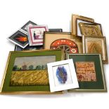 A quantity of framed embroidered panels, various styles, images to include harvesting scenes, orient
