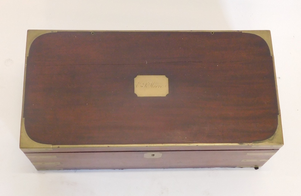 A 19thC mahogany and brass bound campaign writing box, the rectangular top engraved with cartouche E - Image 2 of 2