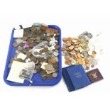 A large quantity of mainly British currency, to include old style one pound coins, fifty pences, dec