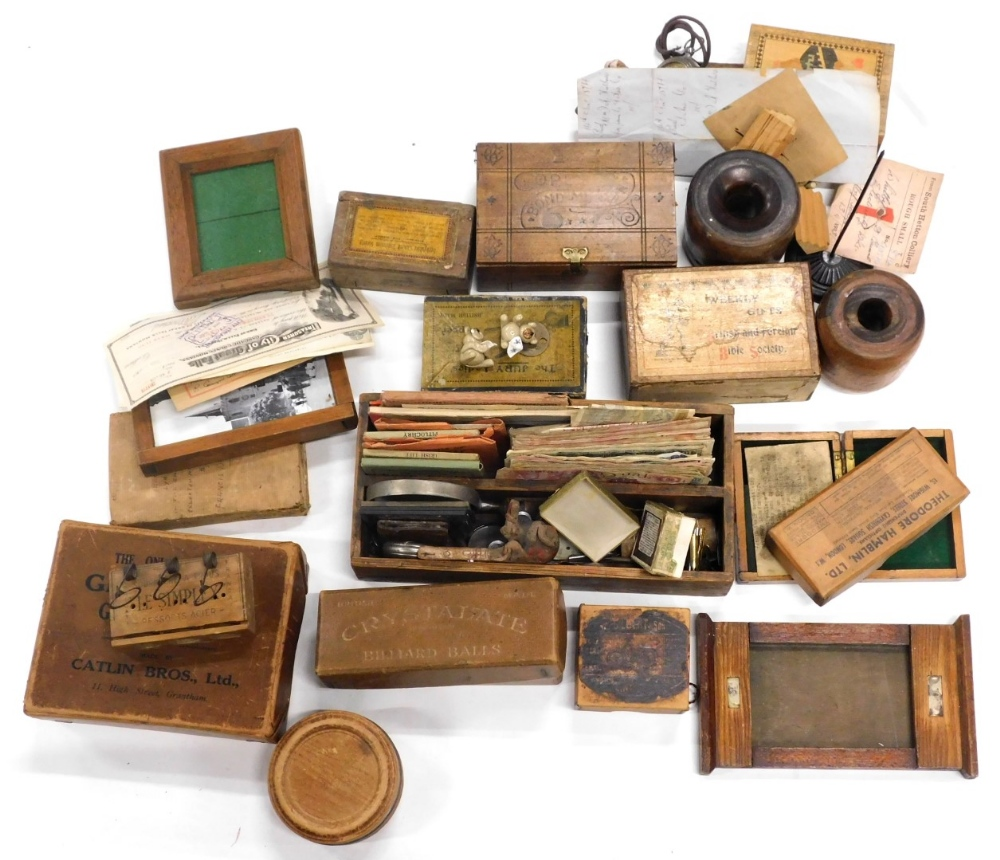 Various bygones collectables, treen, etc., Cope Bond of Union advertising box, 8cm wide, another wee
