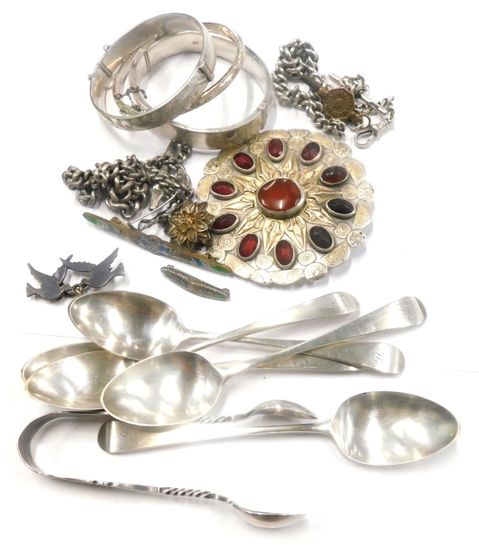 A collection of jewellery, etc., to include watch chain, polished white coloured metal costume brooc