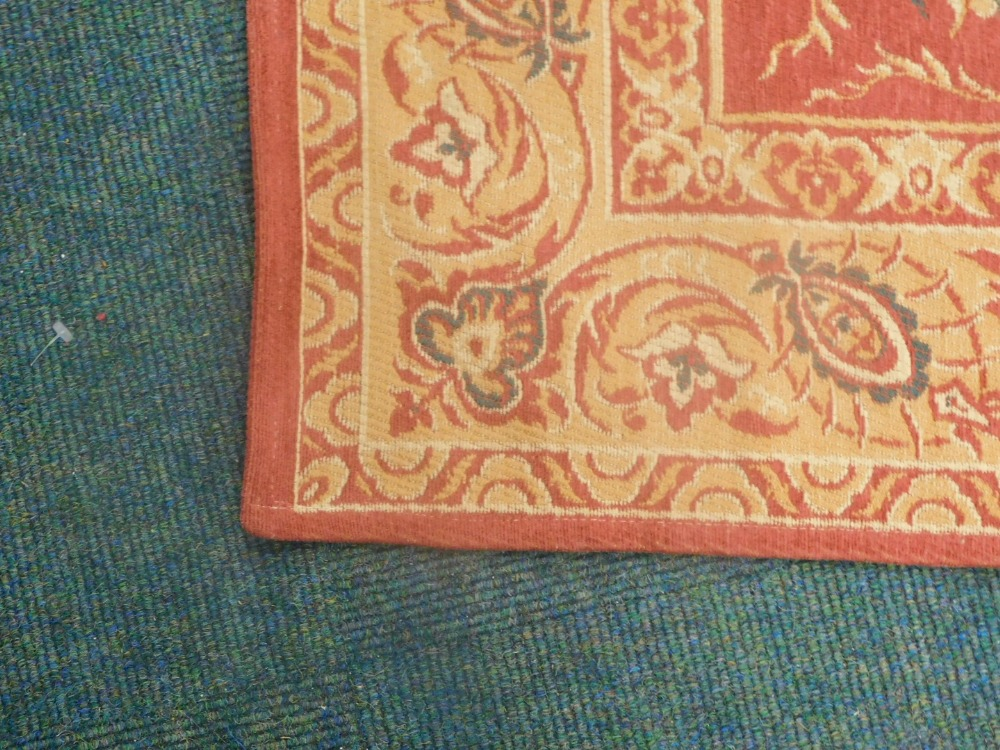 A Laura Ashley Belgian cotton rug, on a red ground. - Image 2 of 3