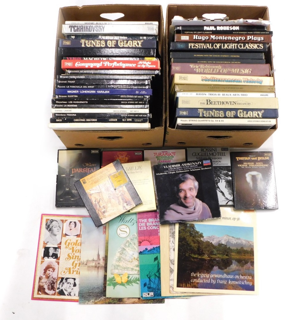A quantity of classical records, mainly box sets, to include Decker, EMI, etc. (2 boxes)
