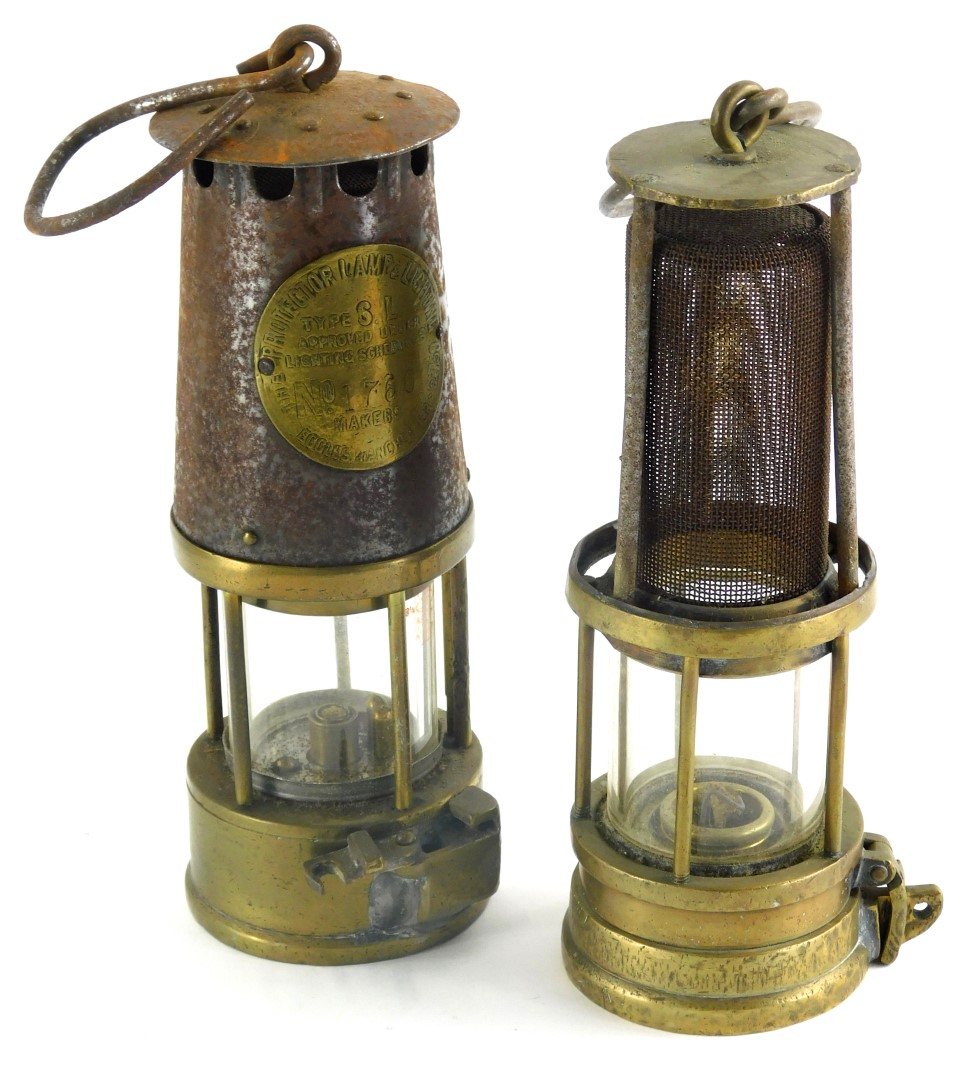 Two miners lamps, to include a protectors lamp, and another, incomplete.