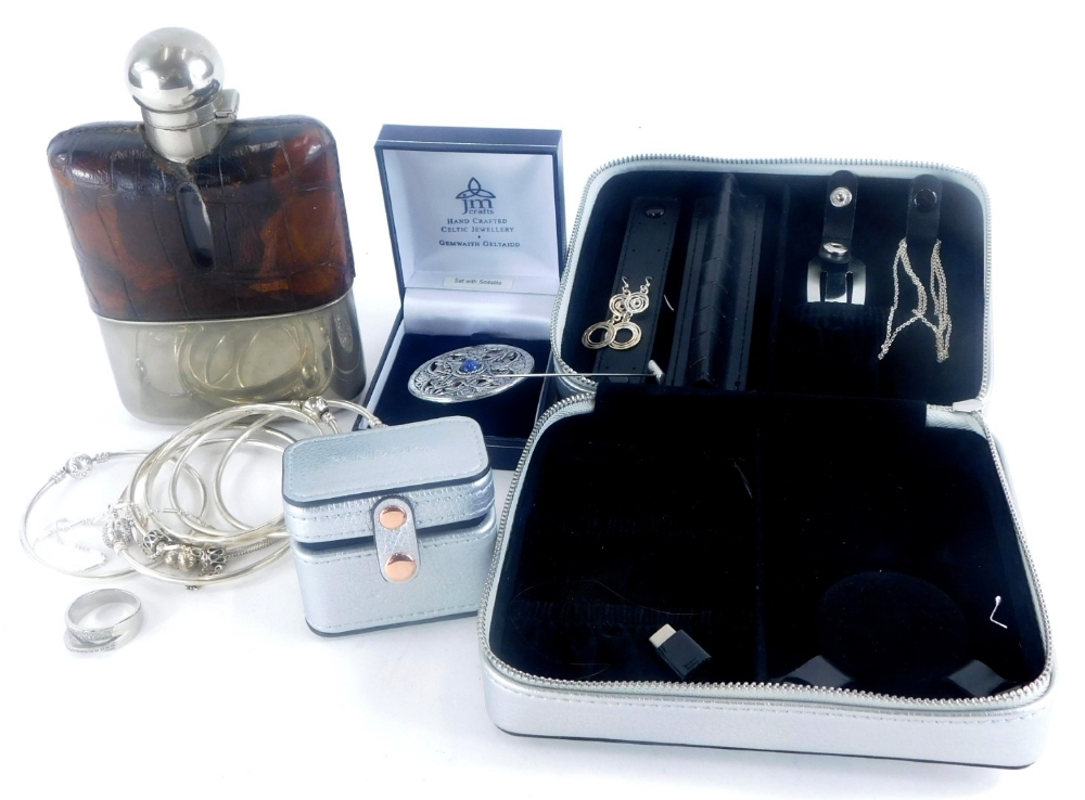 A group of silver and other jewellery, to include some silver earrings, a silver plated hip flask, f