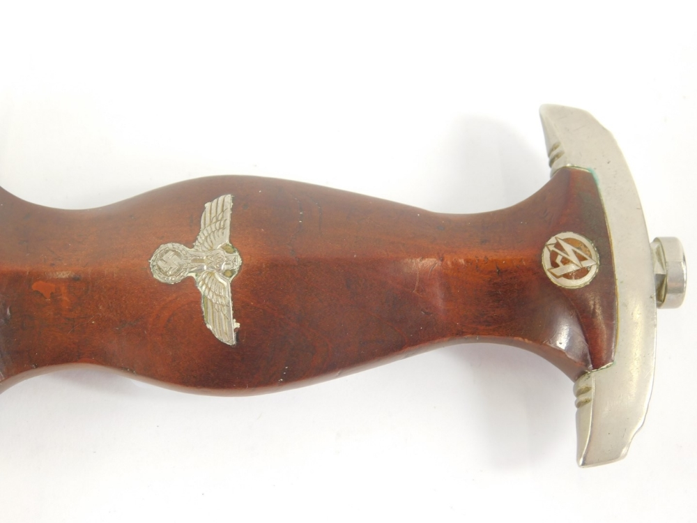A Third Reich SA dagger, with emblem and eagle mounts to wooden handle, the blade stamped Alles Fur - Image 3 of 4