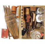 Various bygones collectables, glassware, treen money boxes, house money box, national savings banks,