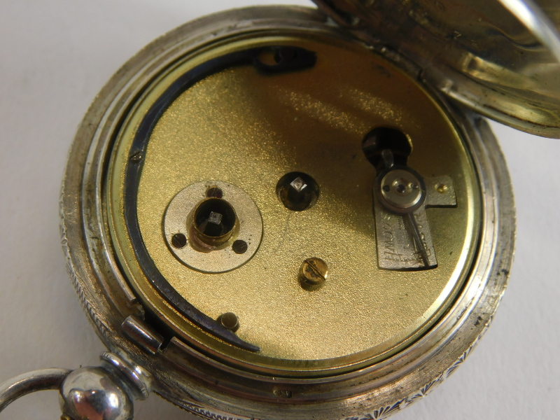 A Victorian silver ladies fob watch, serial number 359072, with an enamel Roman numeric dial, with b - Image 3 of 3