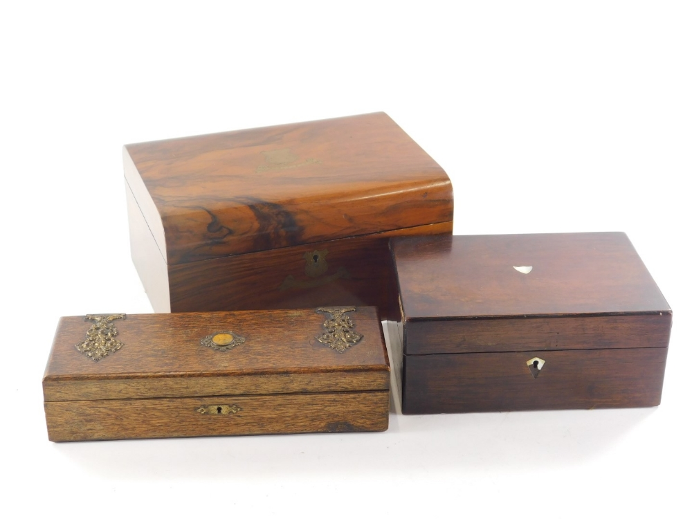 A Victorian walnut jewellery box, with brass vacant cartouche, 30cm wide, a painted pine glove box,