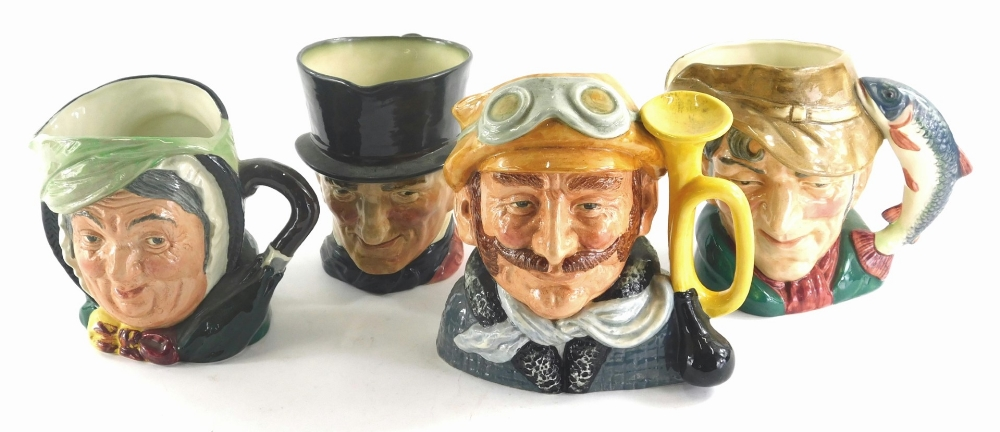 Four Royal Doulton character jugs, the poacher, Sairey Gamp, John Peel and Veteran Motorist.