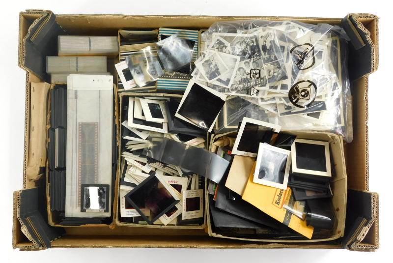 Various slides and associated items, quantity of subject matters, figures, scenery, personal events,