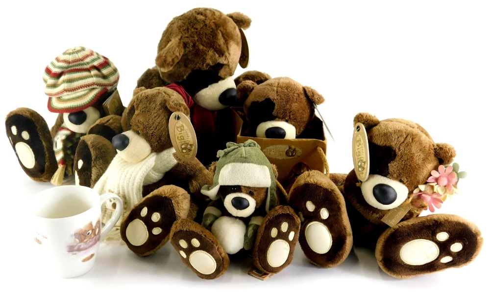 A collection of Big Foot Teddy bears, a little Big Foot bear, and a mug.
