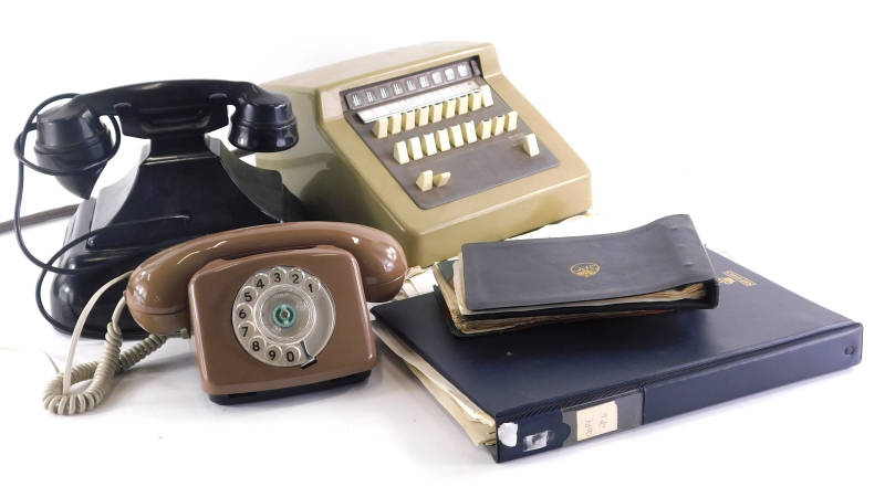 Various telephone parts components, modern fawn coloured phone numbered 21034, 15cm wide, a vintage