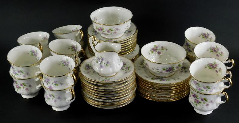 A Paragon Malandi pattern part tea service, to include sixteen cups, milk jug, sugar bowls, plates,