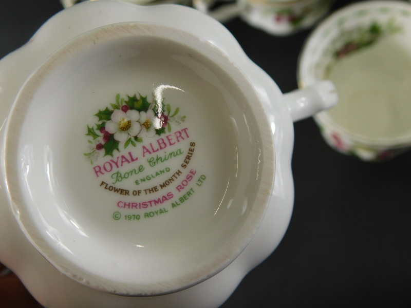 A Royal Albert Flowers of The Month December pattern part service, to include three tier cake stand, - Image 2 of 2