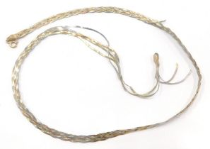 An Italian three colour gold woven necklace, stamped Italy 375, 5g overall.