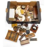 Various bygones, collectables, packing, advertising etc., an early 20thC wooden cased volt meter, 17