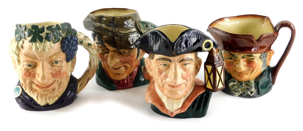 Four Royal Doulton character jugs, a large character jug of The Poacher, Old Charley, Bacchus and Ni