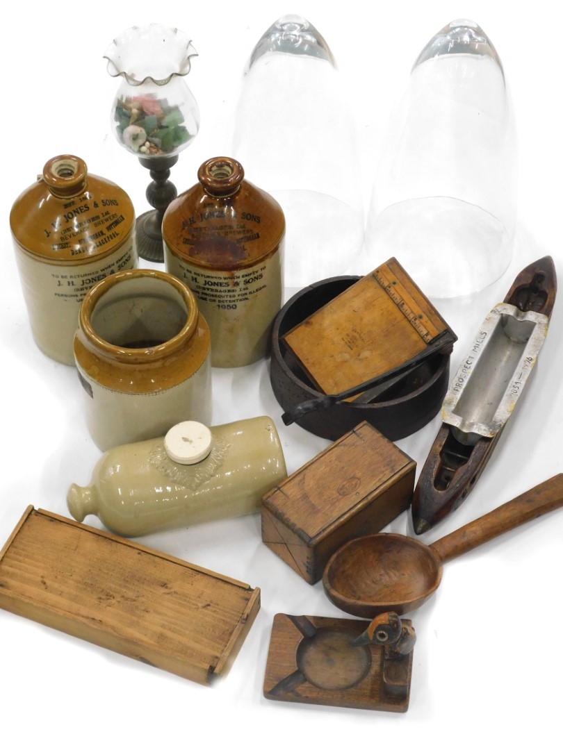 Various early 20thC and later treen, bygones etc., two coloured stoneware flagon, JH Jones and Co De