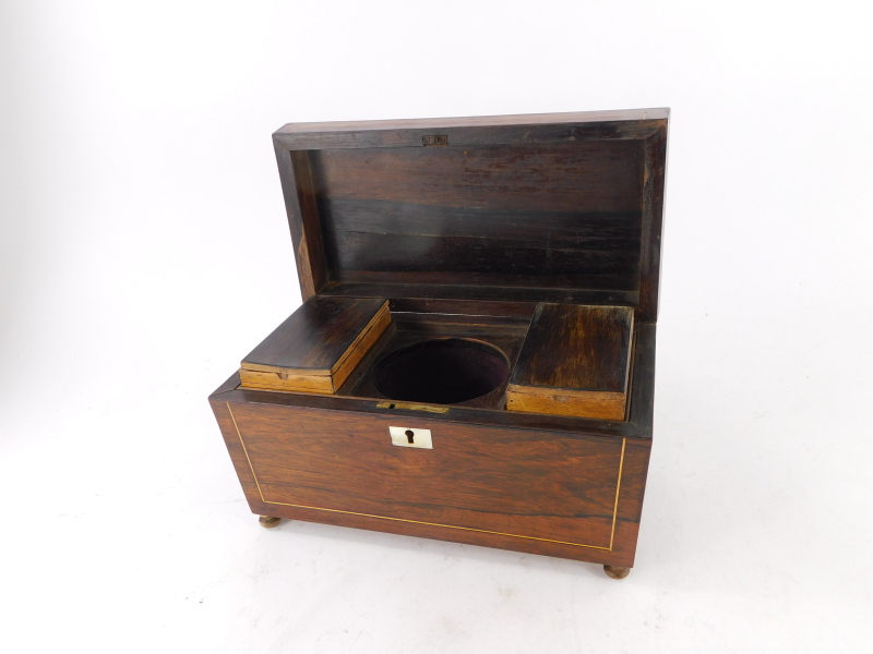 A 19thC and later rosewood and boxwood strung tea caddy, the hinged lid enclosing a fitted interior - Image 2 of 2