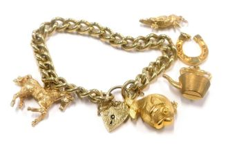 A 9ct gold curb link chain, mounted with a 9ct gold horse shaped charm, and four further 9ct gold ch