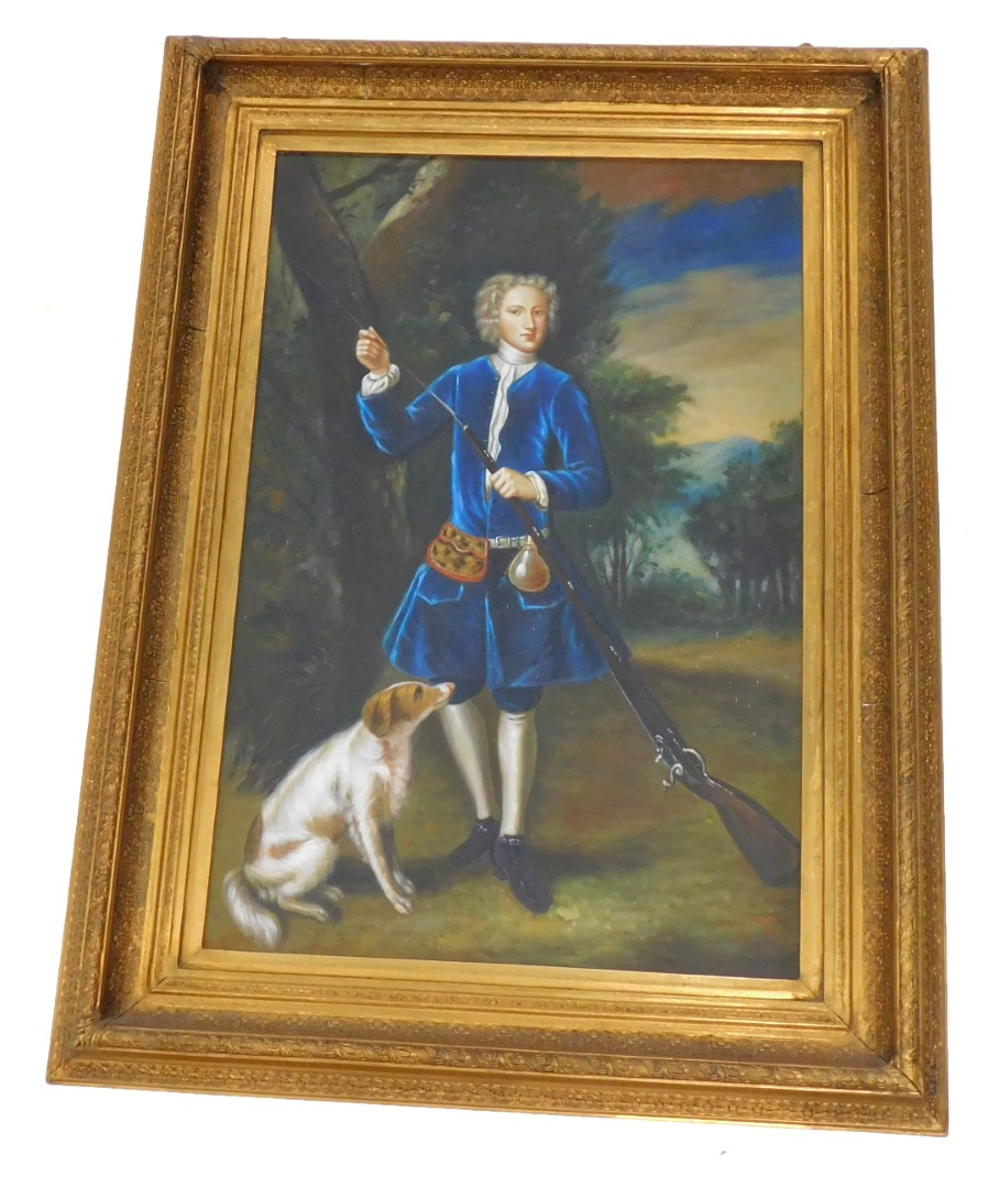 Late 20thC School. Portrait of a gentleman with a gun and a gun dog, dressed in blue, oil on canvas,