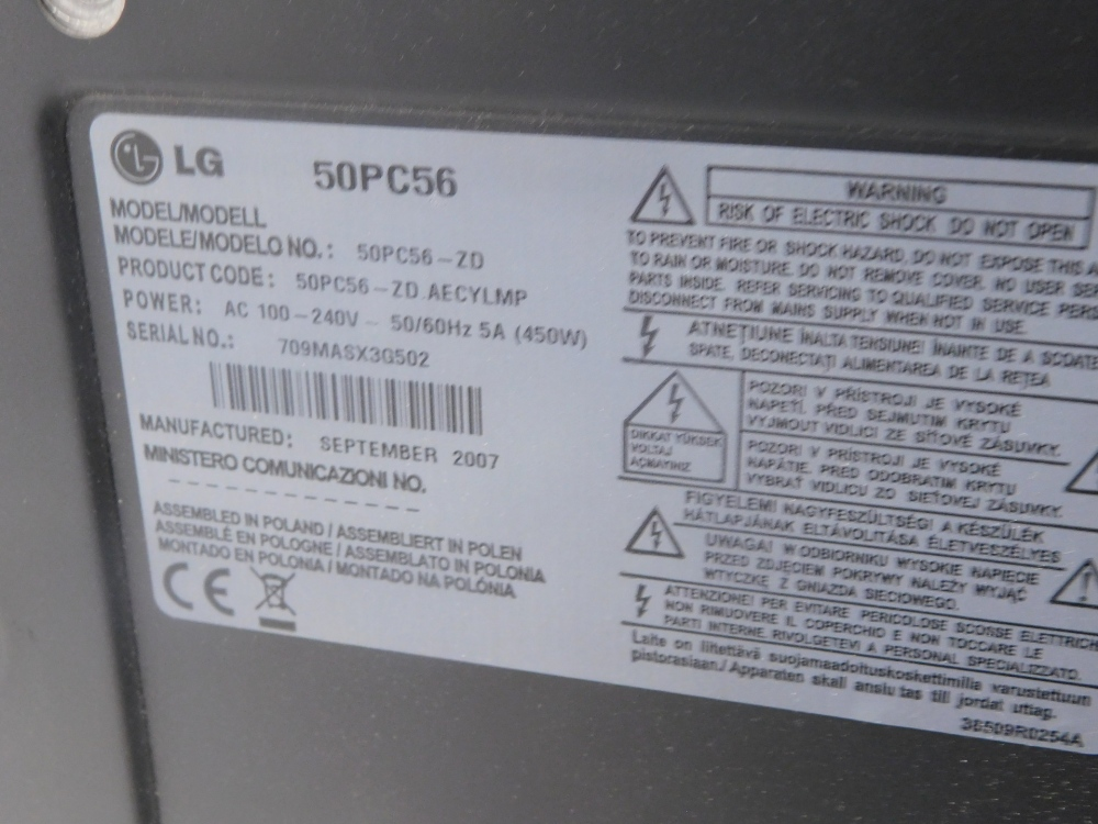 An LG 50 inch LCD television model no. 50PC56, with associated remote, etc. (AF) - Image 2 of 2