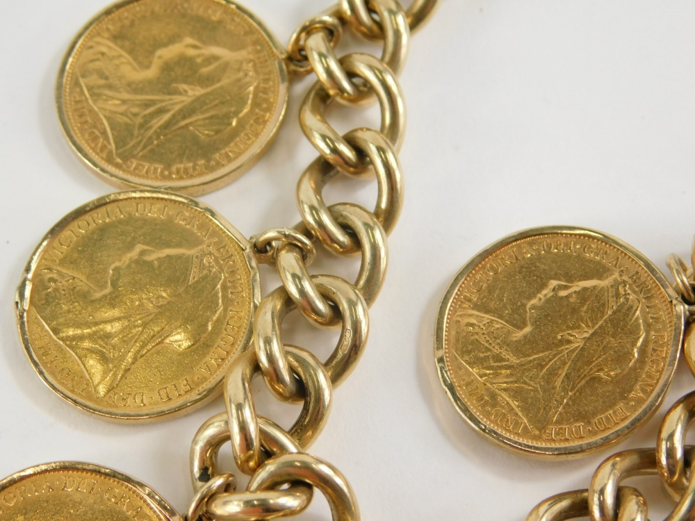 A yellow metal curb link bracelet with 9ct gold lock, set with six full gold sovereigns for 1897, 18 - Image 3 of 3