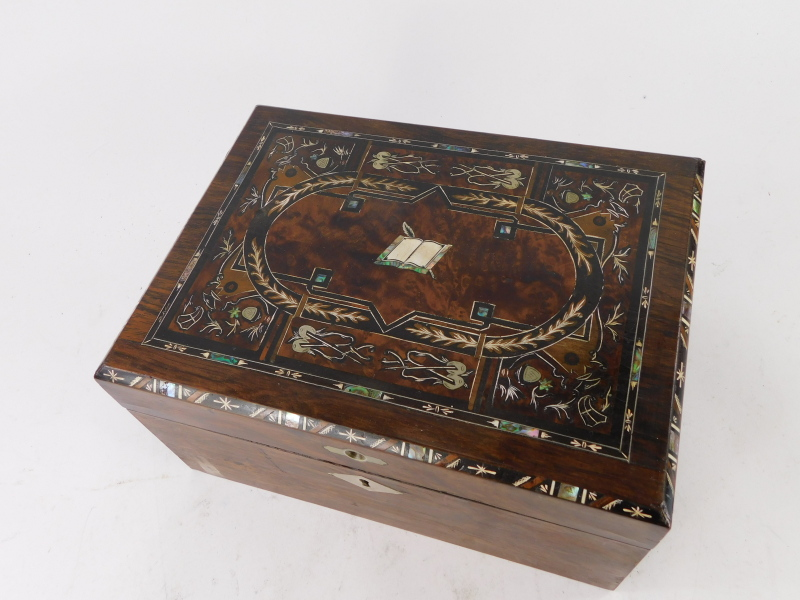 A Victorian and later rosewood and burr walnut workbox, the hinged lid inlaid in pewter, mother of p - Image 2 of 3