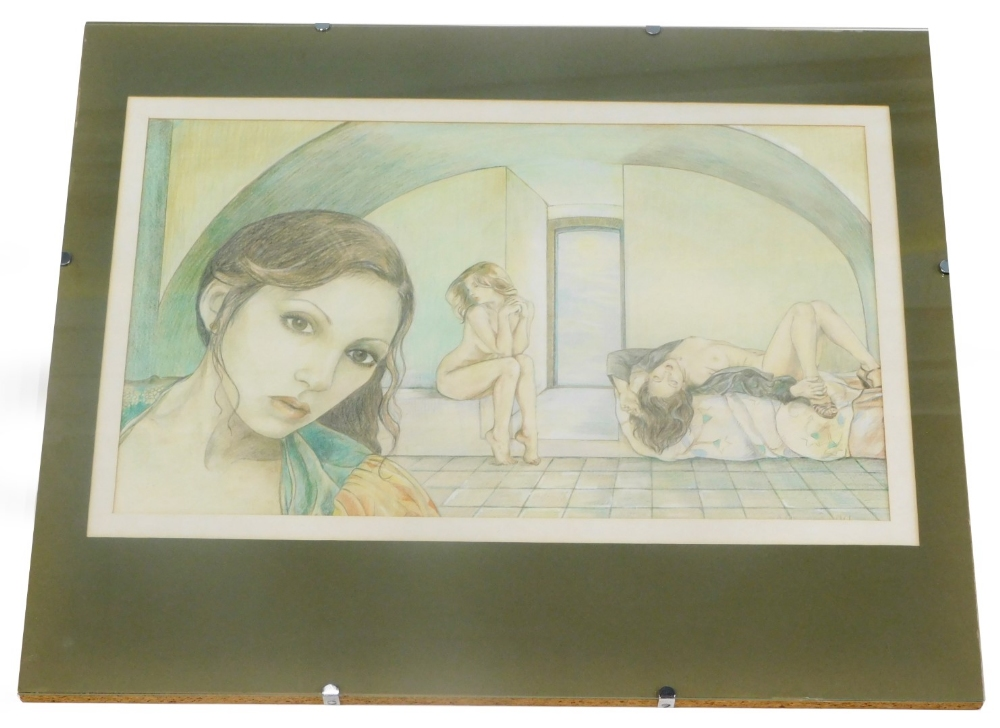 W. M. Macdowell (fl.1979). Three ladies nude reclining etc., mixed media, signed and dated, 29cm x 4