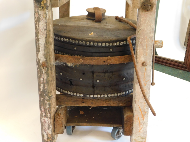 A large set of blacksmith's or industrial bellows, with cradle, etc., 75cm wide. Auctioneer Announce - Image 2 of 4