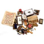 Various bygones collectables, etc., a Steinbaukasten child's stone building block set, in pine box,