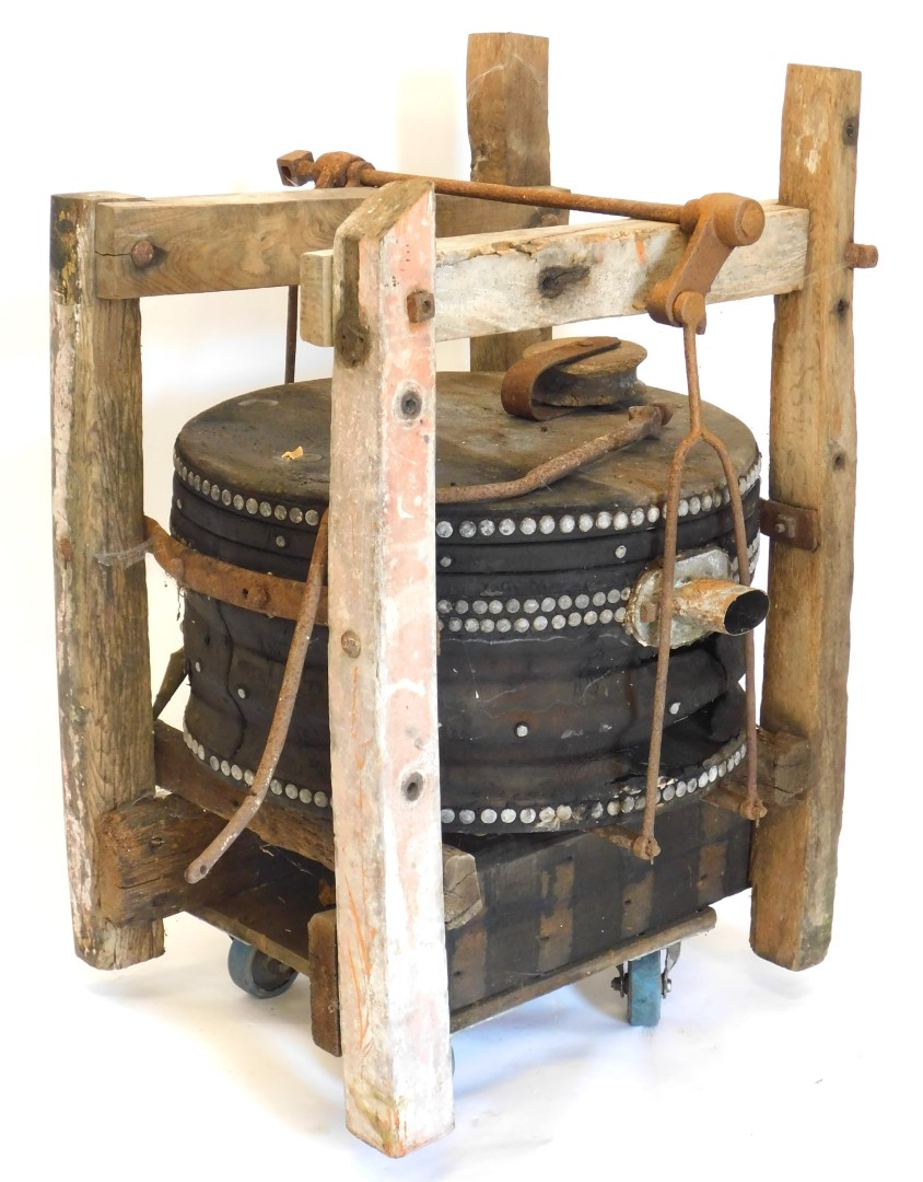 A large set of blacksmith's or industrial bellows, with cradle, etc., 75cm wide. Auctioneer Announce