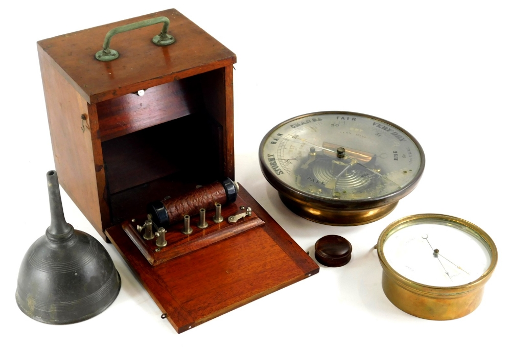 Various bygones and effects, a brass cased barometer marked HPBN, of circular form, 12cm diameter, p