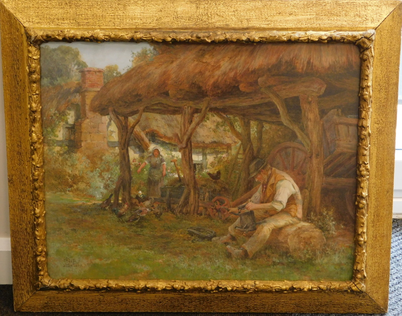 Jacob Brooks (b.1877-?). Figures in thatched barn before thatched cottage, watercolour, signed, 54cm - Image 2 of 4