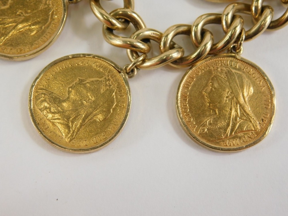 A yellow metal curb link bracelet with 9ct gold lock, set with six full gold sovereigns for 1897, 18 - Image 2 of 3