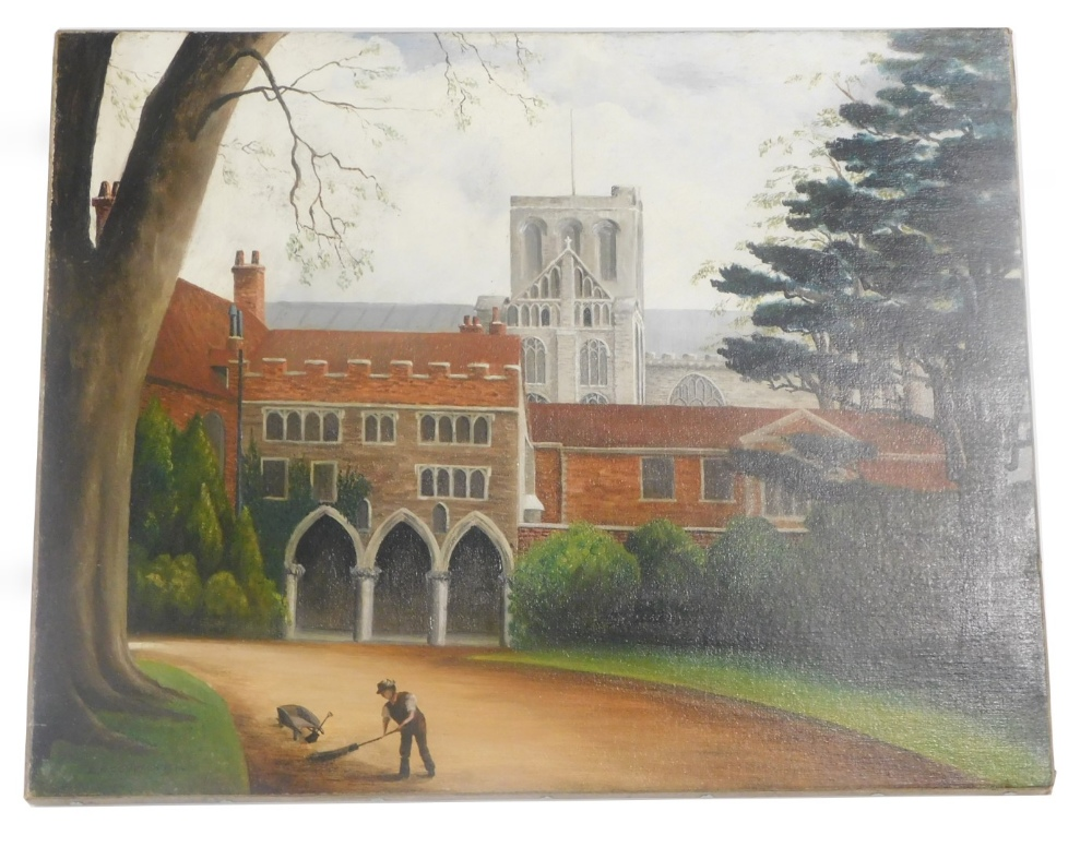 C R Compton (fl 1914). University courtyard before spire, oil on canvas, signed and dated, 41cm x 51