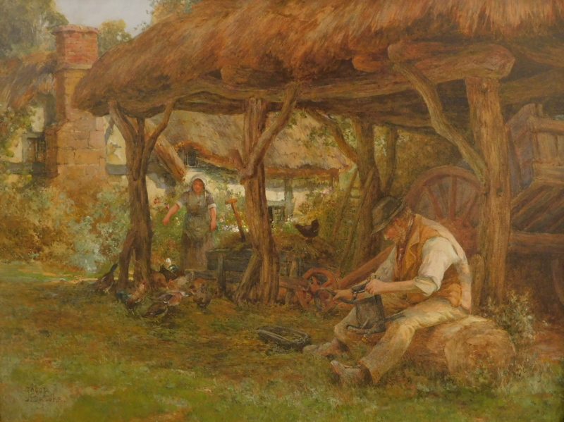 Jacob Brooks (b.1877-?). Figures in thatched barn before thatched cottage, watercolour, signed, 54cm
