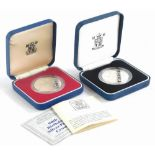 A 90th Birthday Queen Elizabeth The Queen Mother silver proof coin, and another similar. (2)