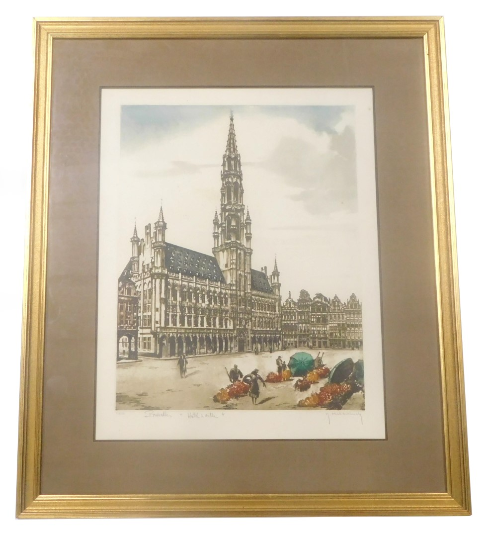 F Hillilinck (20thC). Brussels Hotel A Bile, limited coloured etching, signed titled and numbered 22