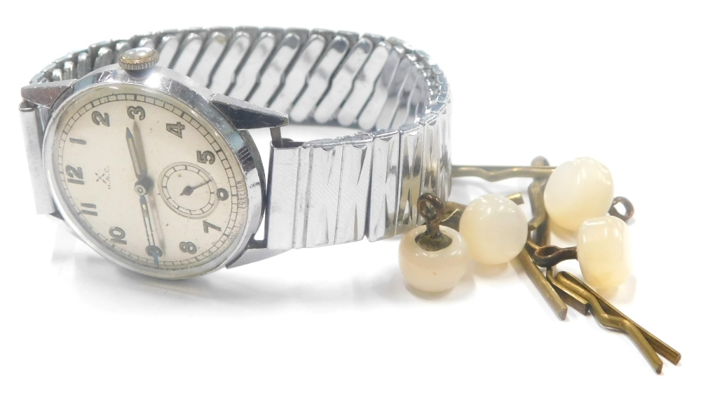 A HAC gentlemans wristwatch, with silvered colour dial, seconds dial and cream painted hands with cr