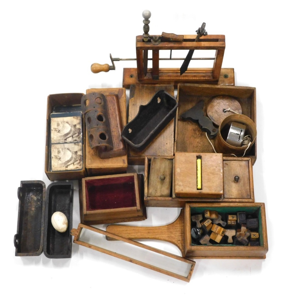 Various treen, bygones, collectables, etc., a stand with various iron implements, book, metalware, c
