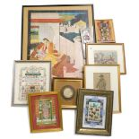 A collection of Oriental pictures and prints, to include images of gods, a mogul school picture of w