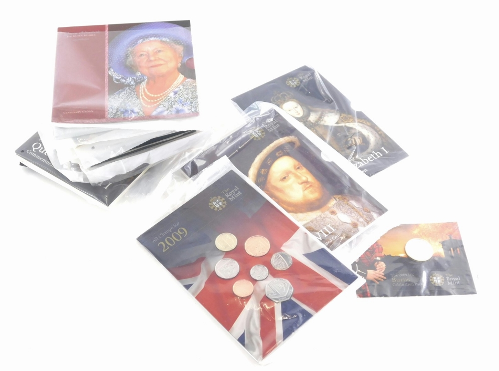 A quantity of Brilliant Uncirculated Royal Mint coins, other similar coin sets, to include commemora