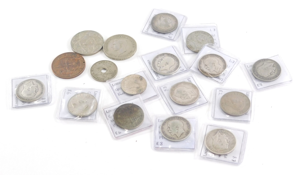 A quantity of mainly British coins, to include George V two shillings, etc.