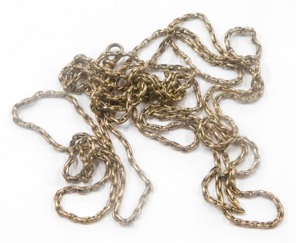 A Victorian gold plated watch chain, with elongated links and single clip clasp, 78cm long overall.
