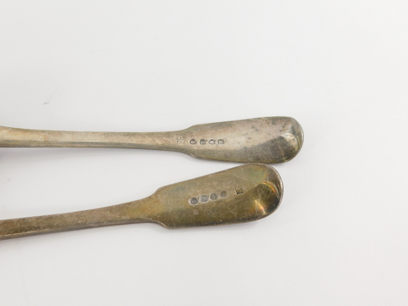 A George III silver tablespoon, initial fiddle back, plain bowl, London 1815, 23cm wide, and another - Image 2 of 2