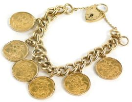A yellow metal curb link bracelet with 9ct gold lock, set with six full gold sovereigns for 1897, 18